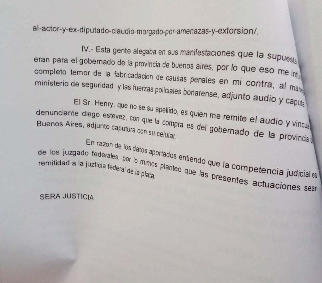 Texto de la denuncia contra Claudio Morgado y otros
