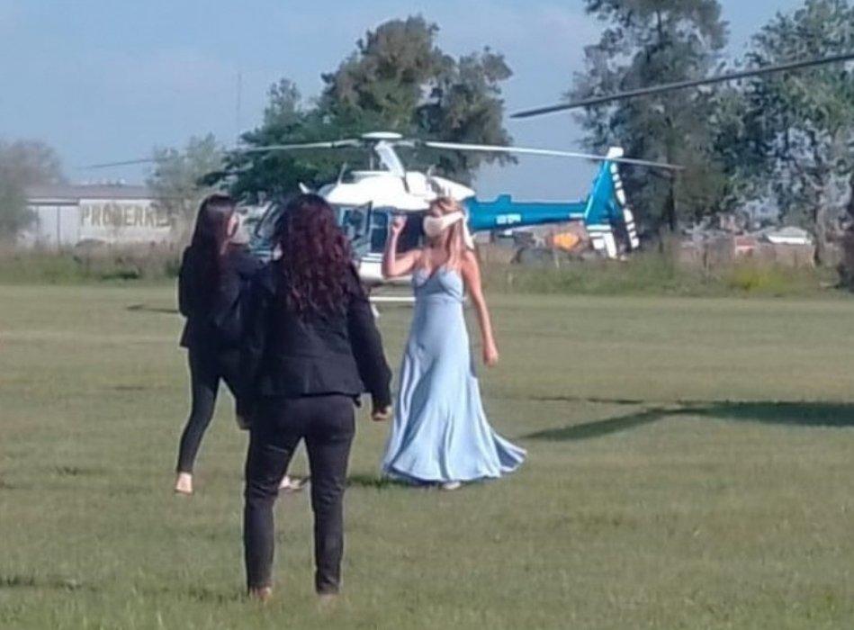 Fabiola Yañez tras bajarse del helicóptero en su llegada a Chaco