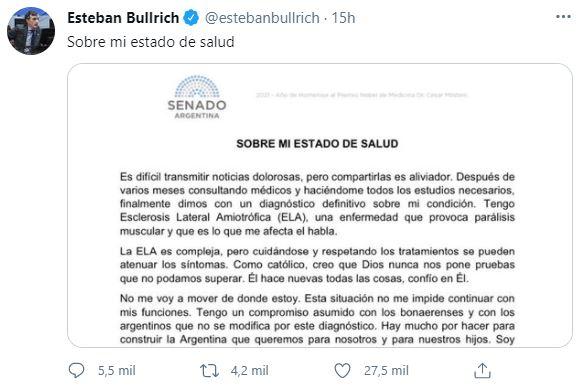 Esteban Bullrich comunicó a través de las redes sociales que fue diagnosticado con ELA
