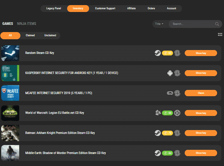 kinguin purchases inventory