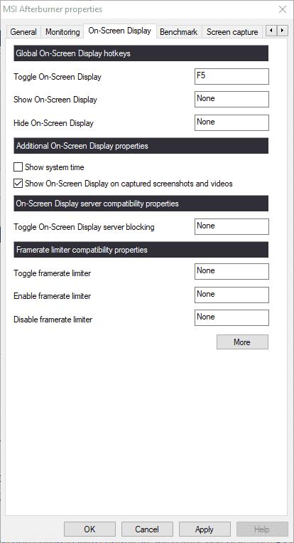 "MSI Afterburner settings ""On-Screen-Display"""