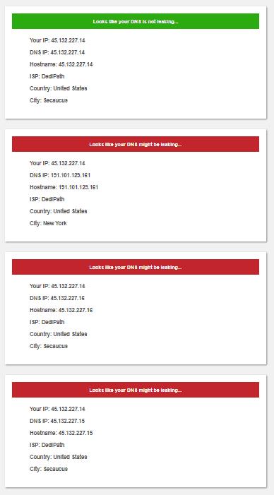 DNSLeak's test - 4 US Servers