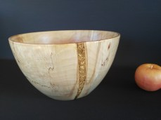 Spalted Birch Turned Bowl with epoxy gold leaf insert