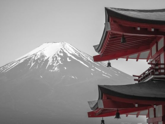 Chureito Pagoda and Fuji Detail