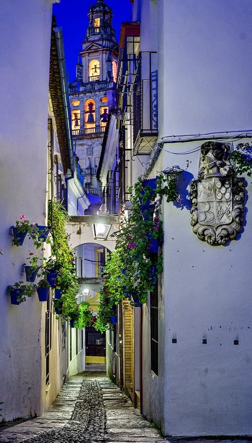 Dusk in Street of flowers, Cordoba, Spain