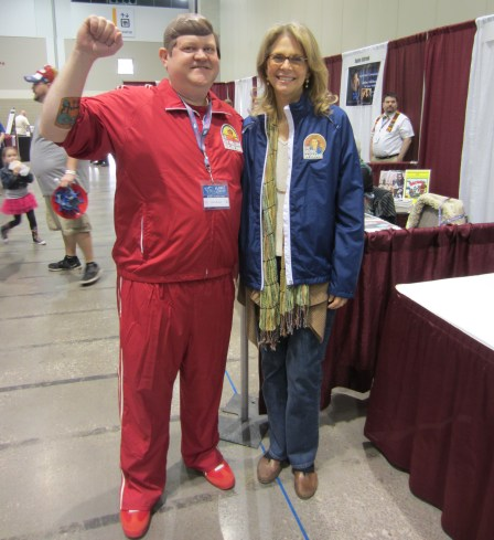 Lindsay Wagner and CJ Bunce cosplay bionic action figures