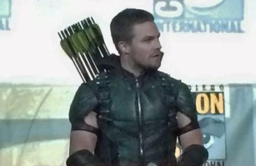 Oliver Queen Arrow new supersuit SDCC 2015 costume panel shot