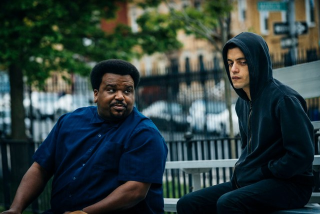"""MR. ROBOT -- """"eps2.0_unmasking.zip"""" Episode 201 -- Pictured: (l-r) Craig Robinson as Ray, Rami Malek as Eliot Alderson -- (Photo by: Michael Parmelee/USA Network)"""