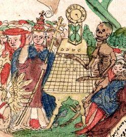 El Papa juega al ajedrez con la muerte - detalle de la página adyacente en el llamado Verganglichkeitsbuch de Wilhelm Werner von Zimmern, alemán, 1540.