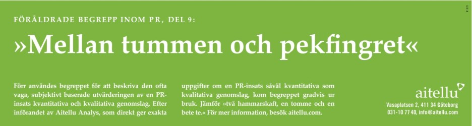 Byrå: Ubik! Copywriter & projektledare: Ulf Börgesson. Art director: Sara Sundin