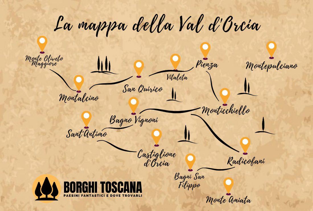 Www Cartina Toscana.Val D Orcia Mappa E Itinerari Borghi Toscana
