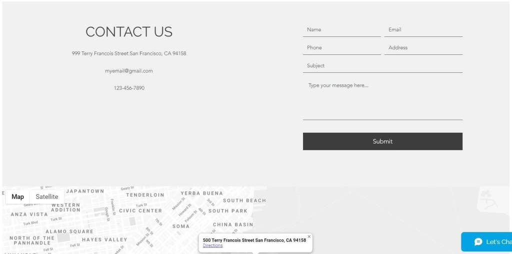 contact us section of the free website generator