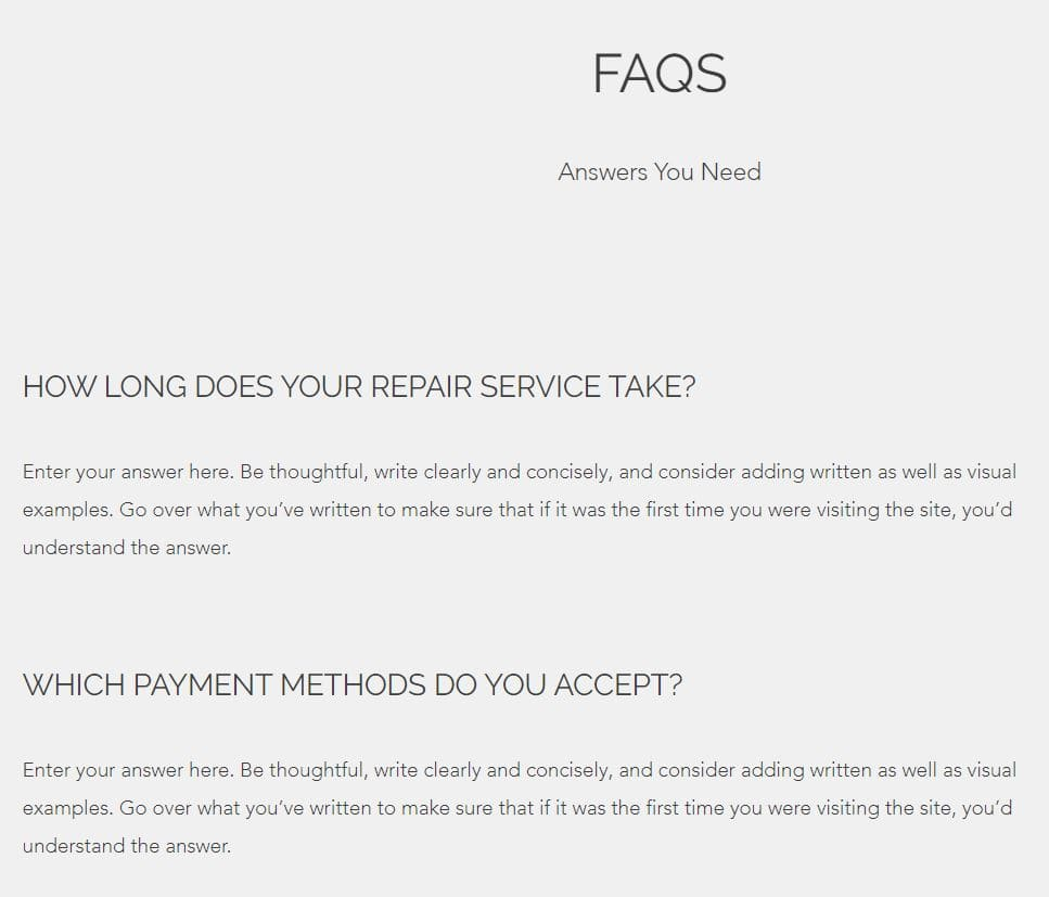 faq section of the wix template