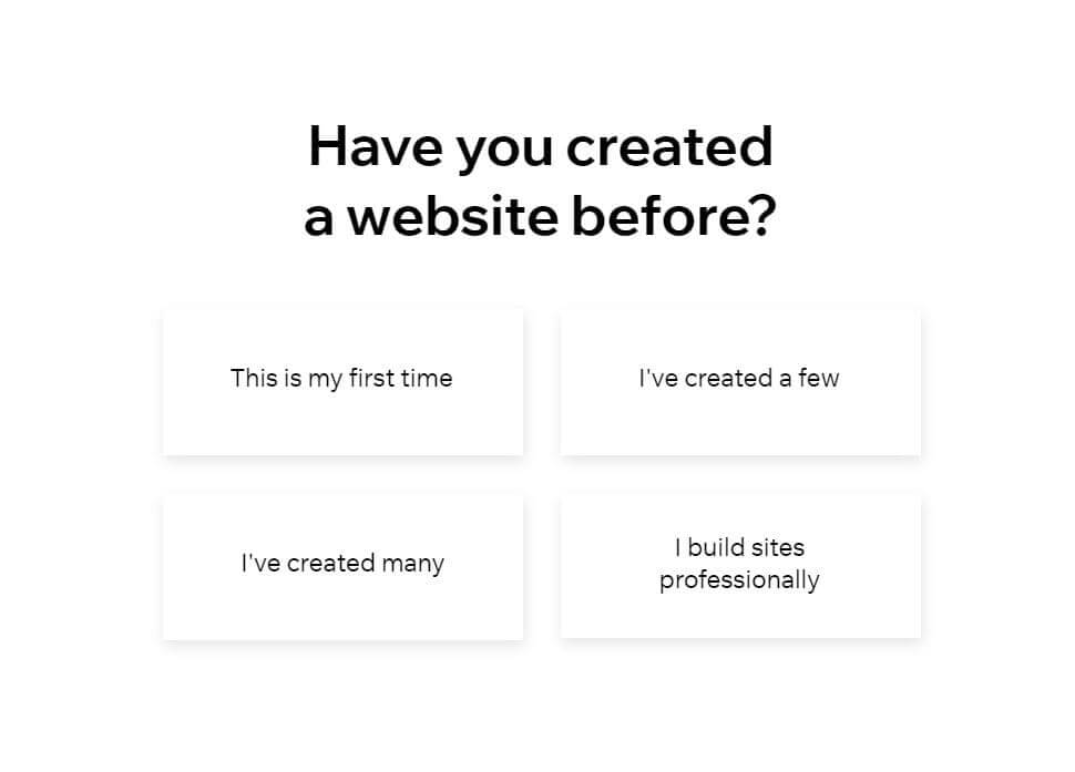 experience in working with creating a websites