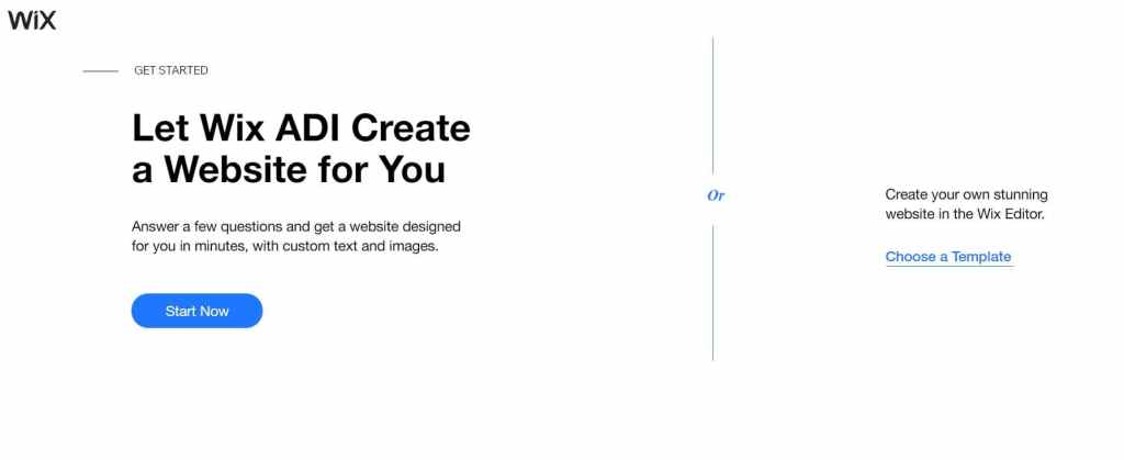 choose wix template in the website creator for free