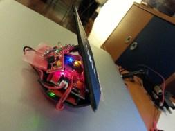 Initial prototype, dark screen background. Proposed hand mount.
