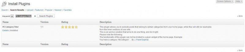 WP adding PE Category Filter plugin