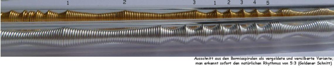 Gold und Silberspiralen im Bormia Bio Quellwassergenerator