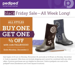 pediped announces a Black Friday Sale-all week long Nov. 25-Dec. 2, the one pediped BOGO sale of the year!