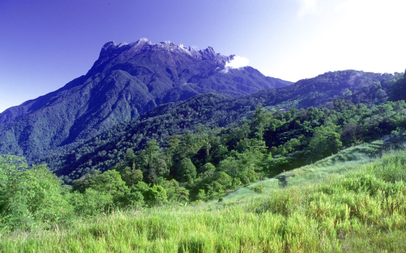 View of the slopes of Mount Kinabalu with the peak in the distance, Sabah, Malaysia.