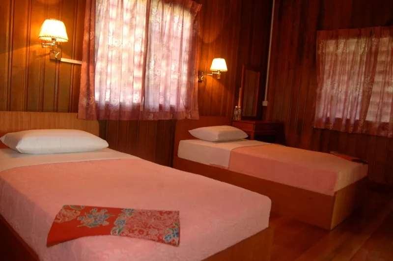 Room at Kinabatangan River Lodge, Sabah, Malaysia.