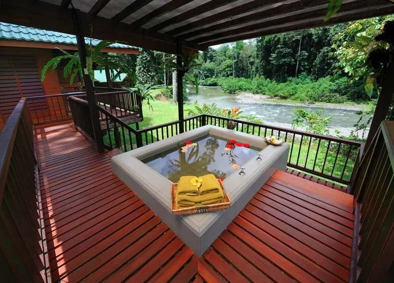Balcony of river view deluxe chalet at Borneo Rainforest Resort, Danum Valley, Sabah, Malaysia.q