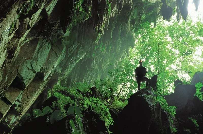 A tourist standing at the mouth of Clearwater Cave, Gunung Mulu National Park, Sarawak, Malaysia