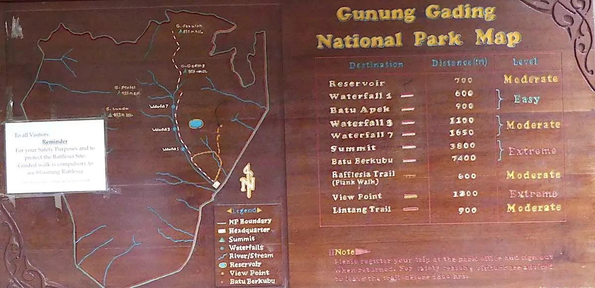 Gunung Gading Trail Map