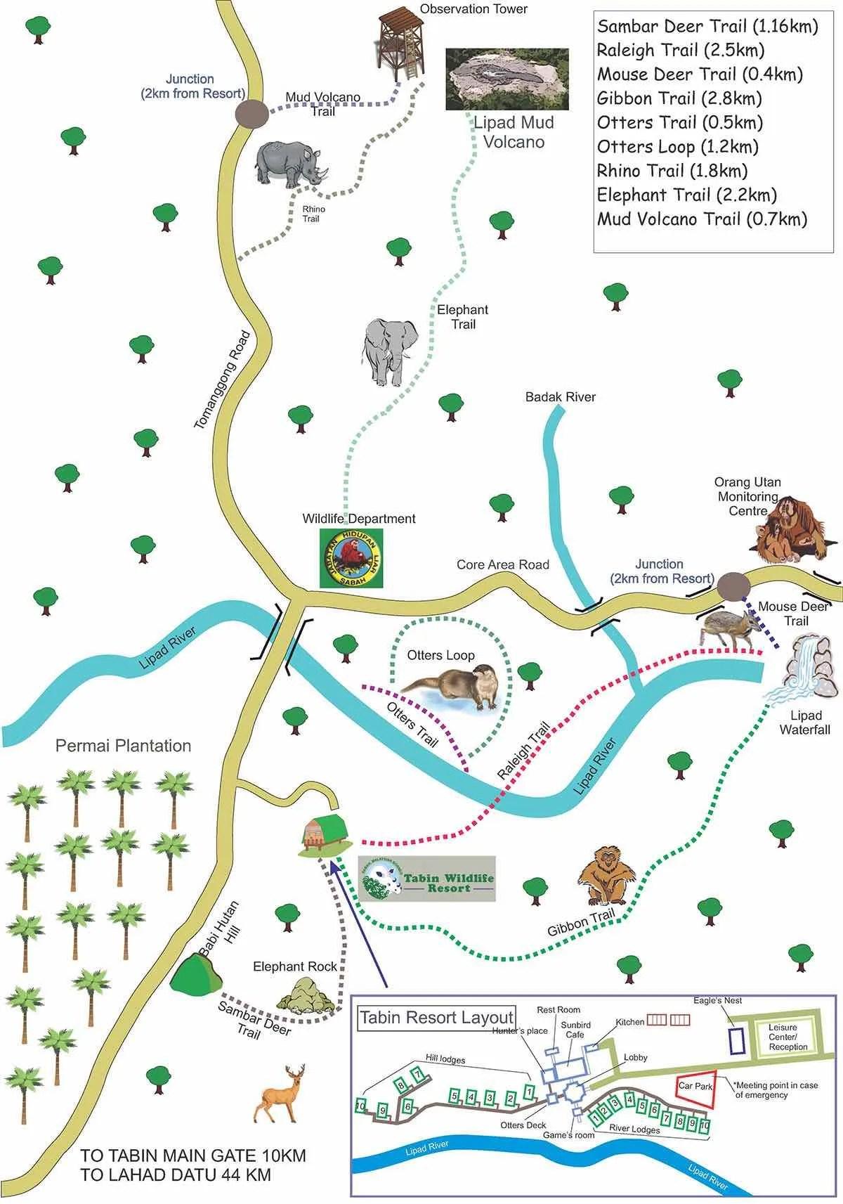 Tabin Wildlife Reserve Map