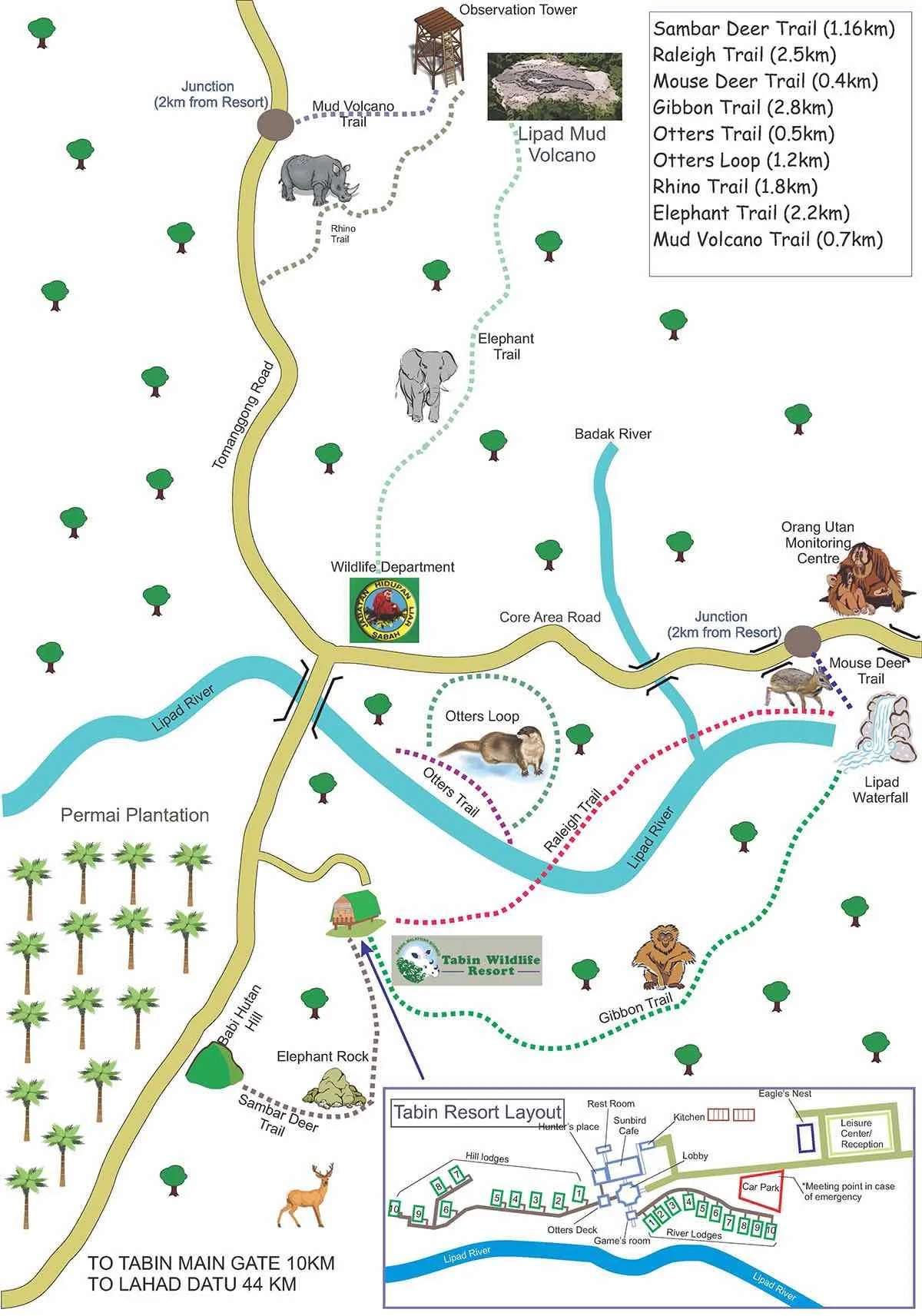 Tabin Wildlife Reserve Map