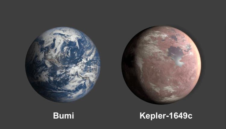 Perbandingan antara plenet Bumi dan Kepler 1649-c. (Foto: Istimewa)