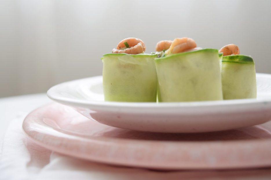 garnalen avocado komkommer