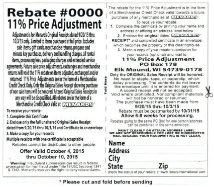 menards rebate form