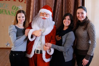 svieta, santa, me, nastya. my fellow english teachers. (well, not santa)