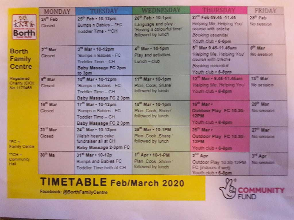 Weekly Timetable Feb 24th – April 3rd