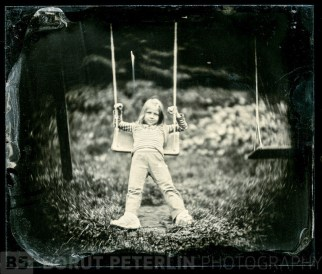 Brina on a swing portrayed with Petzval lens