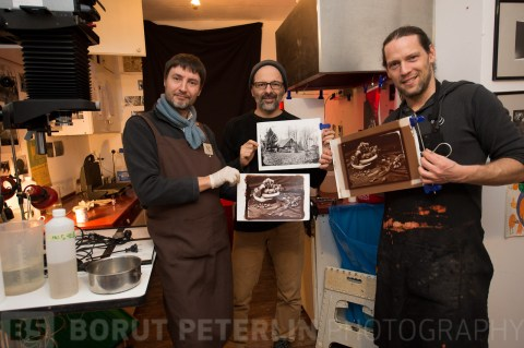Giuseppe Toffoli with a salt print, Davide Nesti with a silver gelatine print and Borut Peterlin with an albumen print