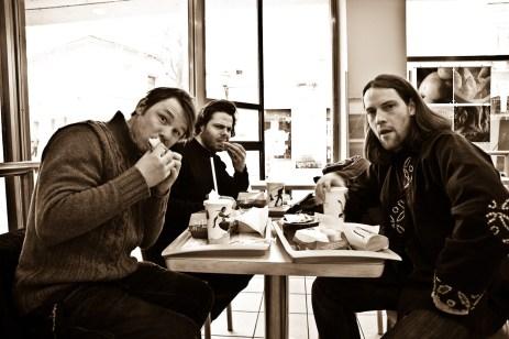 Jure Breceljnik, Jean-Christophe Couet and Borut Peterlin in McDonalds in MB.