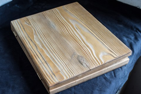 wooden box out of pine wood, sand-blasted for extra texture.
