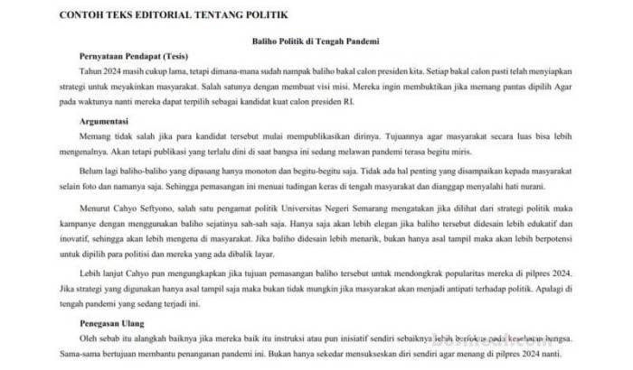 Contoh Teks Editorial tentang Politik