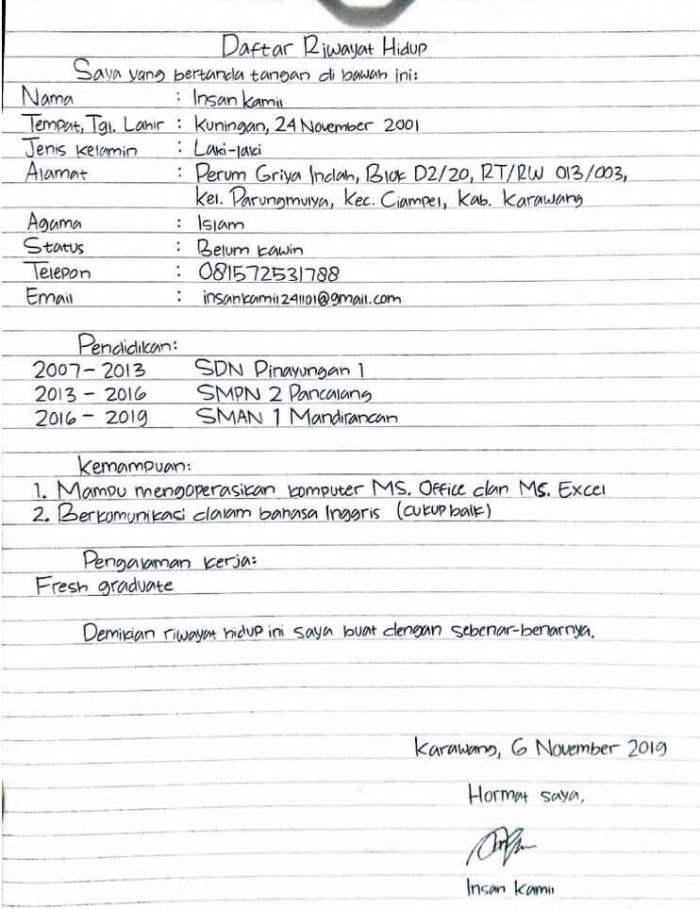 Contoh CV Lamaran Kerja Tulis Tangan