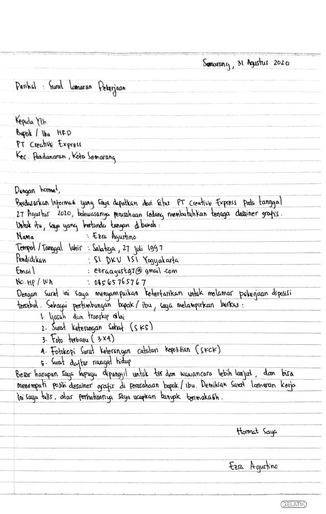 Contoh Surat Lamaran Kerja Tulis Tangan Simple