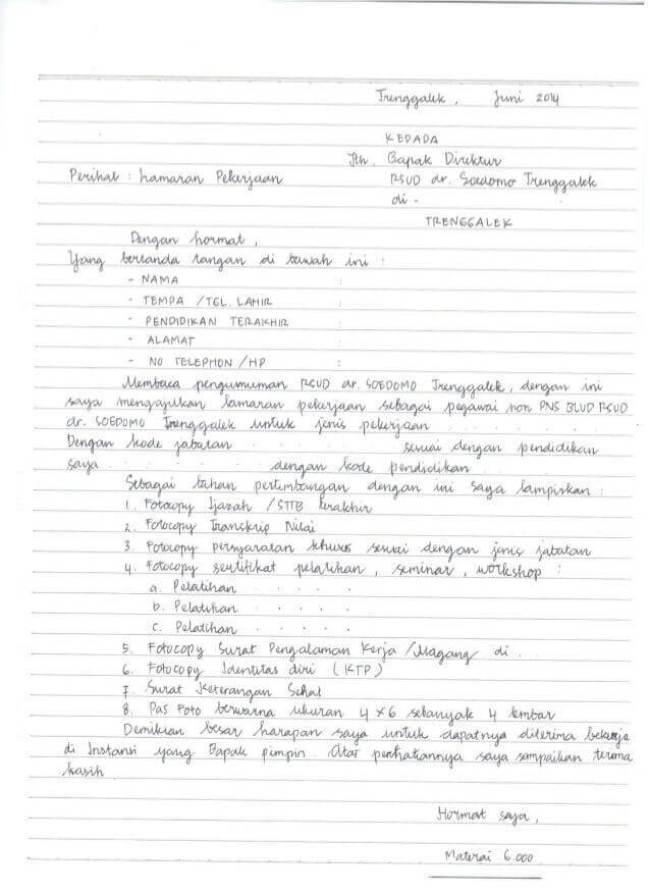 Contoh Surat Lamaran Kerja Tulis Tangan Tegak Bersambung