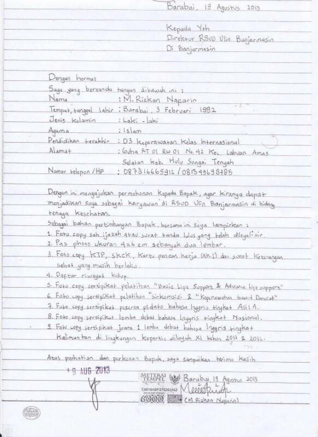 Contoh Surat Lamaran Kerja Tulis Tangan Untuk Rumah Sakit