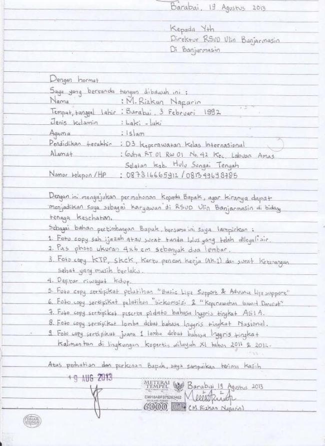 15 Contoh Surat Lamaran Kerja Tulis Tangan Yang Baik Dan Benar