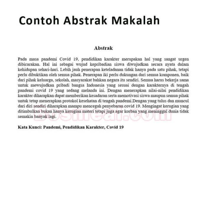 Contoh Abstrak Makalah
