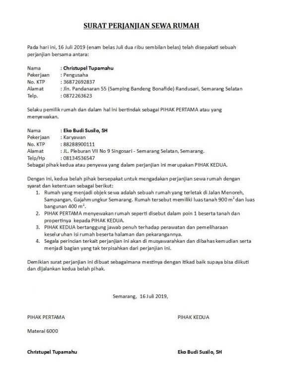 Contoh Surat Pernyataan Perjanjian Sewa Rumah
