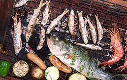 川遊び釣果 BBQ