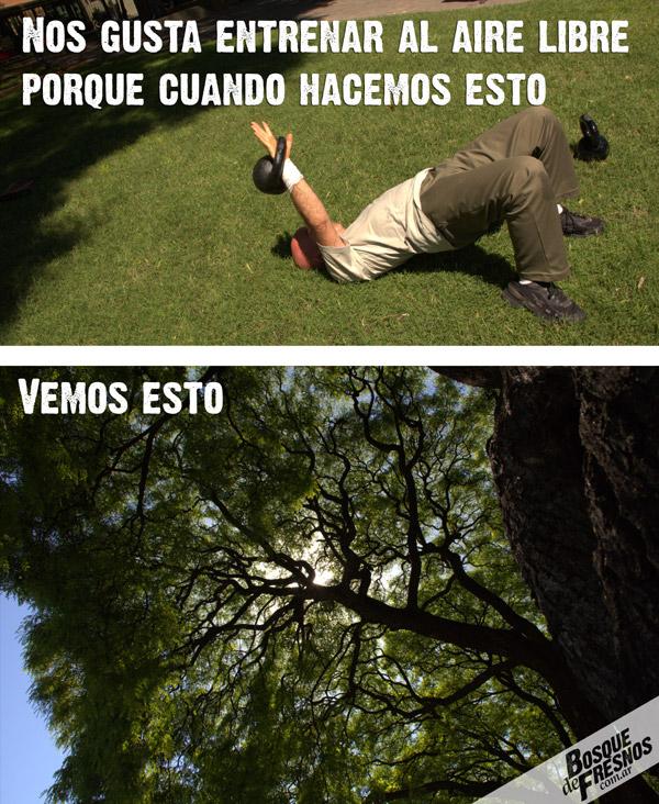 Entreamiento al aire libre en Parque Los Andes