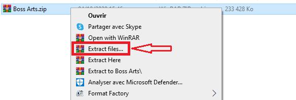 Décompresser fichier sous Windows clique droit sur le fichier à compresser par Boss Arts